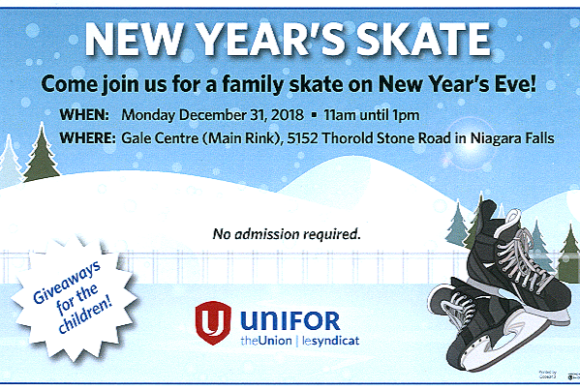 UNIFOR New Years Skate  – Monday , December 31st, 2018