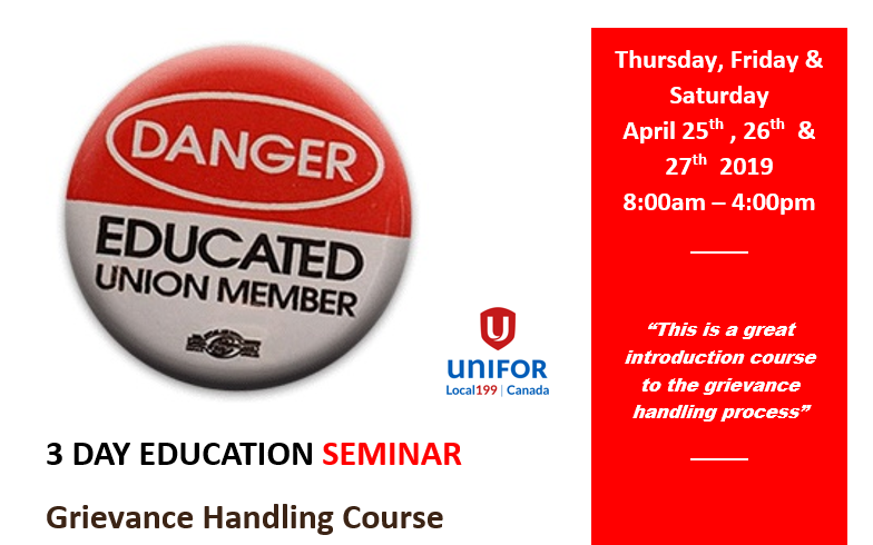 3 Day Grievance Handling Course – April 2019