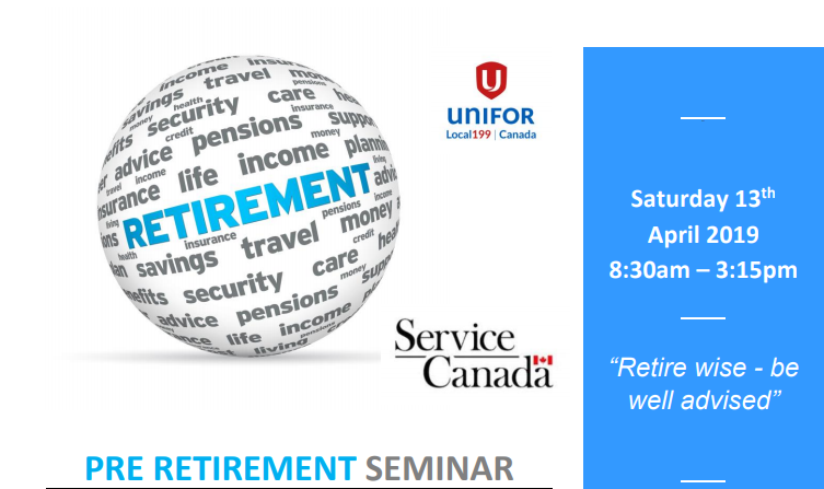 Pre-Retirement Seminar (April 13th 2019 – almost full)
