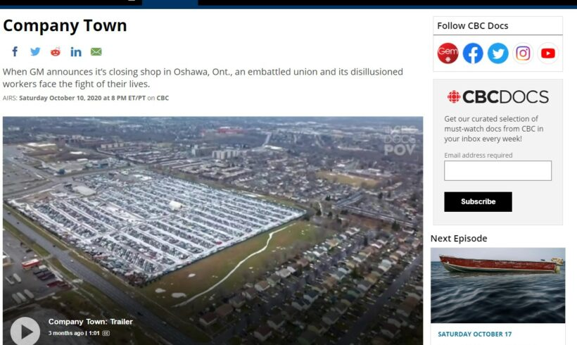 """Company Town"" Documentary about Oshawa GM, Airs Saturday"